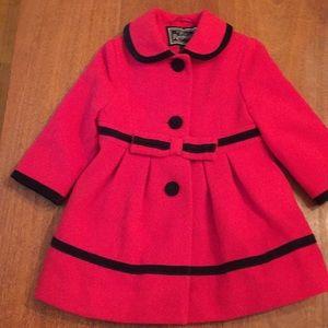 ROTHSCHILD Coat Red Velvet Trim & Buttons 18 M EC